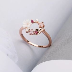 ¥Rose Gold Flower & Butterfly Circle Halo Ring